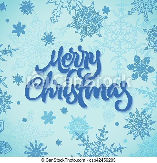 Merry Christmas calligraphic hand drawn lettering with snowflakes - csp42459203