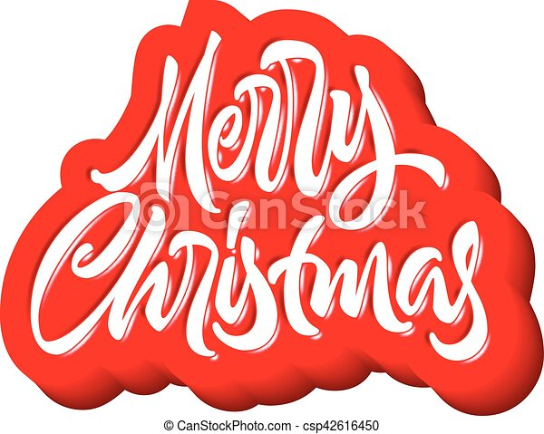 Merry Christmas calligraphic handdrawn lettering with puffy jelly style - csp42616450