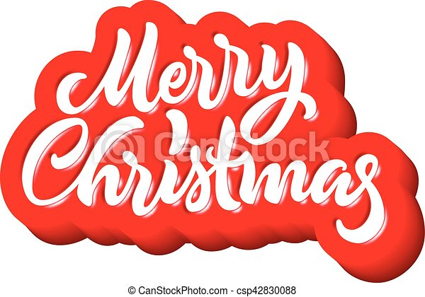 Merry Christmas calligraphic handdrawn lettering with puffy jelly style - csp42830088