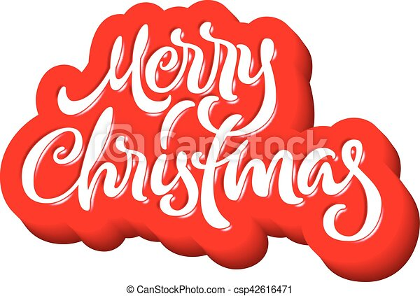 Merry Christmas calligraphic handdrawn lettering with puffy jelly style - csp42616471