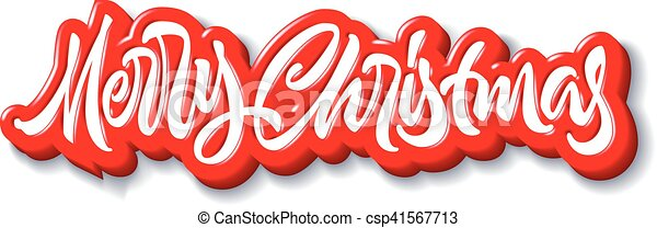 Merry Christmas calligraphic handdrawn lettering with puffy jelly style - csp41567713