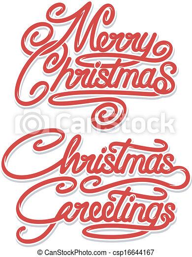 Merry Christmas Calligraphic Text - csp16644167