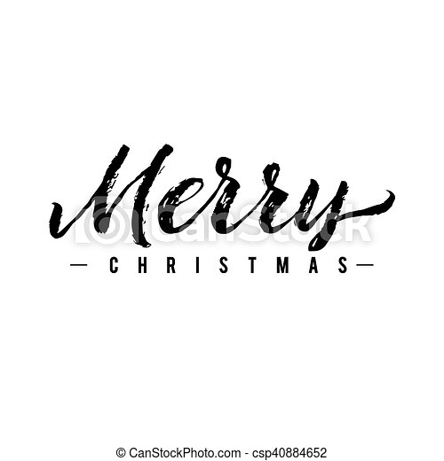 Merry Christmas Calligraphy.Merry Christmas Calligraphy Greeting Card Black Typography On White Background