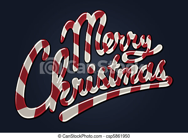 Merry christmas candy cane - csp5861950