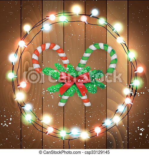 merry christmas candy with branches wooden bg csp33129145