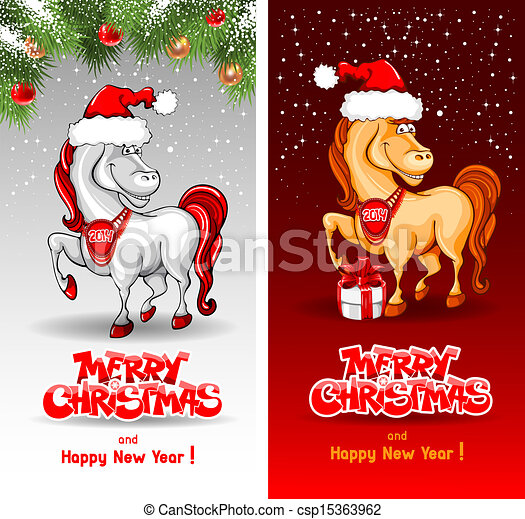 Christmas Horse Cartoon.Merry Christmas Card