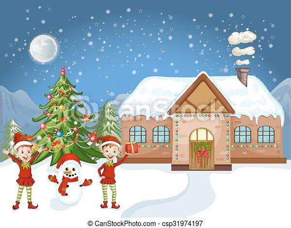 Merry Christmas Card Illustration White Christmas House Christmas