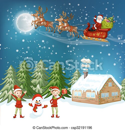 Merry Christmas Card.  - csp32191196