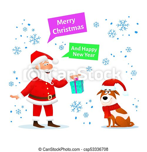 Merry christmas card. funny santa claus with xmas gift and dog in ...