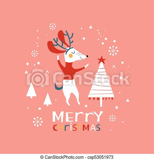 Christmas Illustration With Cute Dogs And Snowflakes Merry Christmas