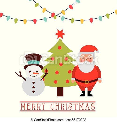 merry christmas card santa with reindeer tree lights csp55170033 - Santa With Reindeer