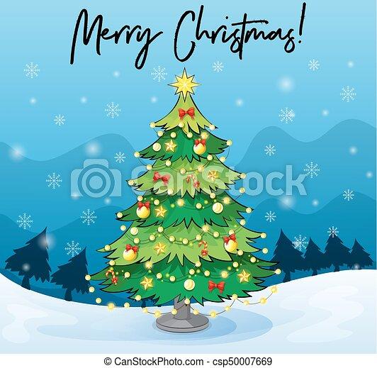 Merry Christmas Card Template With Christmas Tree Illustration - Christmas card template blue