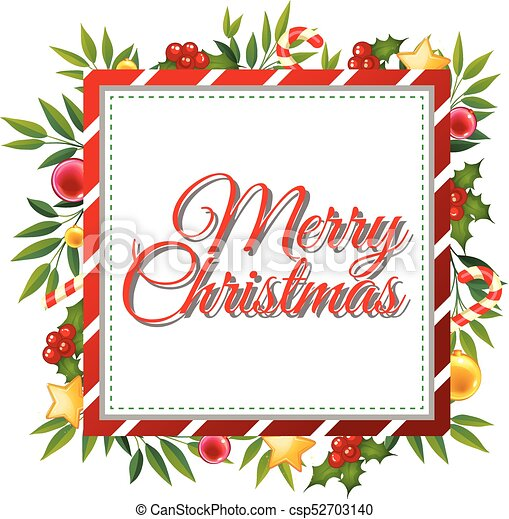 Christmas Card Template.Merry Christmas Card Template With Ornaments In Background
