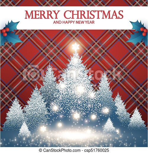 merry christmas card template with fir tree snow holly berry tartan pattern flash effect and
