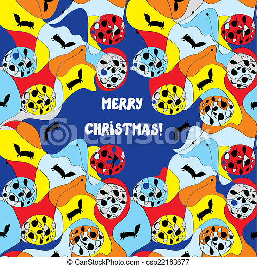 Merry christmas card - whimsical design with pattern - csp22183677