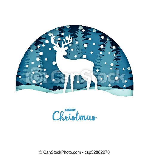 Reindeer Christmas Cards Drawings.Merry Christmas Card White Deer In The Snow Forest