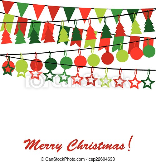 Merry Christmas card with bunting and garlands - csp22604633