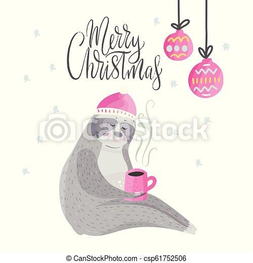 Christmas Sloth.Merry Christmas Card With Cute Cartoon Sloth