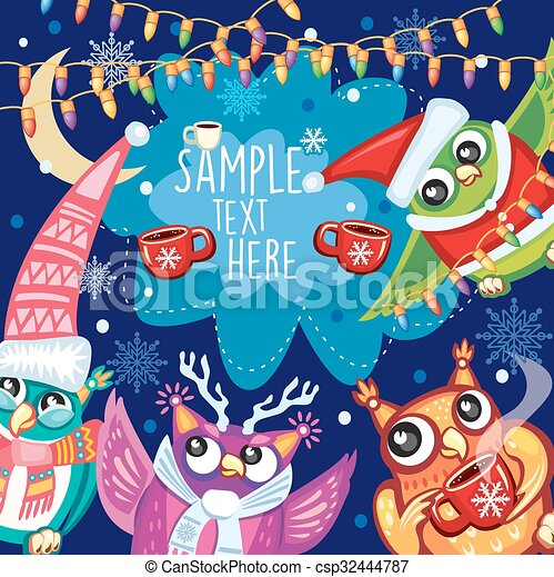 Merry Christmas card with Cute Owls - csp32444787