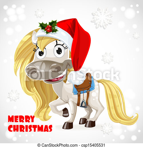 Christmas Horse Drawing.Merry Christmas Card With Cute White Baby Horse