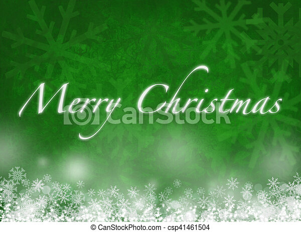 Merry Christmas card with snowflakes on green background - csp41461504