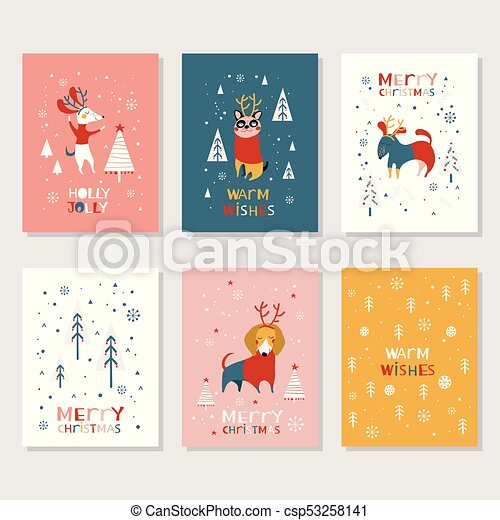 Merry Christmas Illustration.Merry Christmas Cards Collection