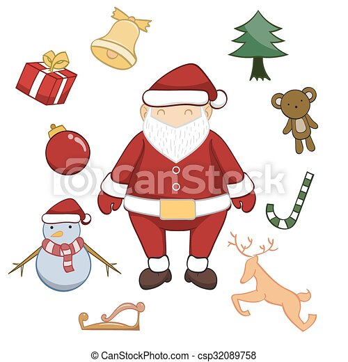 Merry Christmas Cartoon Vector Illustration On White Background