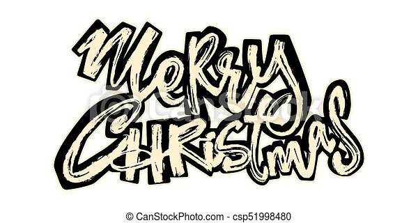 Merry Christmas Hand Drawn Holiday Lettering Expressive Funky Calligraphy Ink Poster Handwritten Modern Brush Style Laid Back Grunge