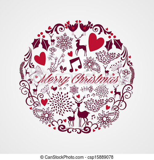 Merry Christmas circle shape with reindeers and love elements composition. EPS10 vector file organized in layers for easy editing. - csp15889078