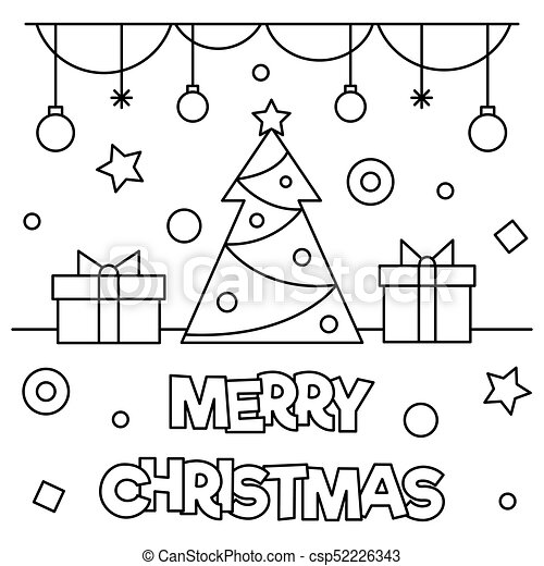 Merry christmas. coloring page. vector illustration. Merry christmas ...
