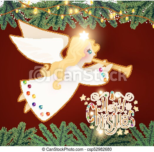 merry christmas cute background with angel playing the trumpet christmas candy lettering fir tree