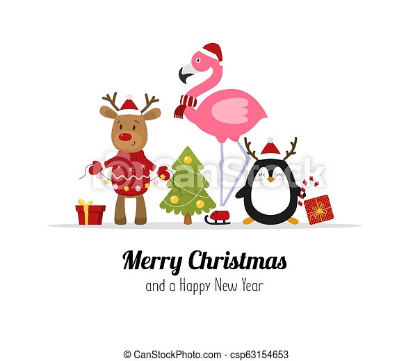 Merry Christmas Animals.Merry Christmas Cute Christmas Animals Reindeer Flamingo And Penguin Isolated Vector