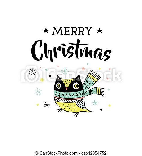 Merry Christmas Illustration.Merry Christmas Cute Illustration And Greeting Cards With Owl