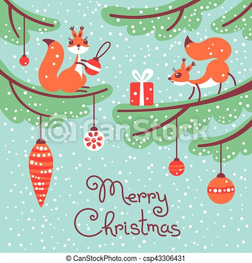 Merry christmas. cute little squirrels with gift on trees. Merry ...