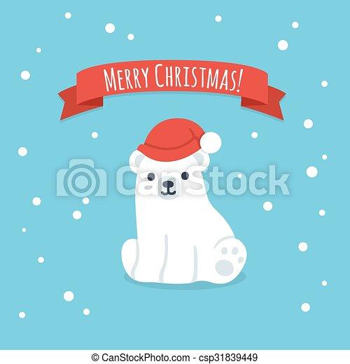 Merry christmas cute polar bear. Cute cartoon polar bear cub in ...