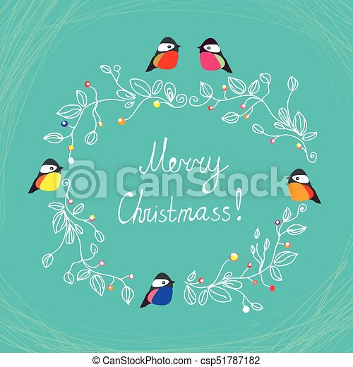 merry christmas cute postcard with birds csp51787182 - Merry Christmas Cute