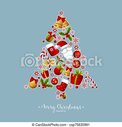 Merry Christmas decoration vector - csp75630991
