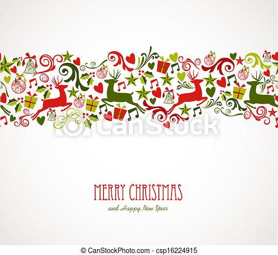 Merry Christmas decorations elements border. - csp16224915