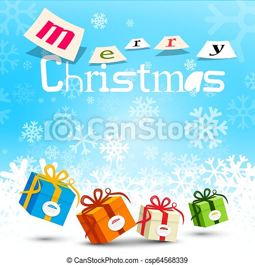 Merry Christmas Design with Snowflakes on Blue Background and Gift Boxes - csp64568339