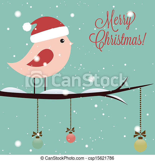 Merry christmas text and cute bird on special blue background.