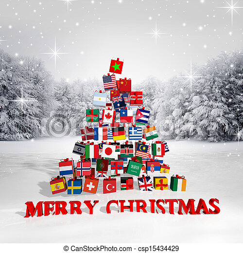 Merry Christmas everyone! Christmas tree made from gift boxes with different flags - csp15434429