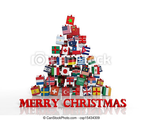 Merry Christmas everyone! Christmas tree made from gift boxes with different flags - csp15434309