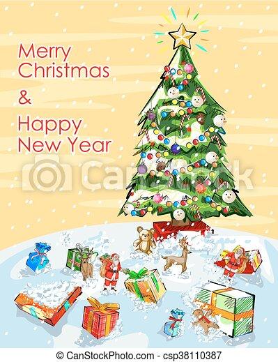 Christmas Graphics Vector.Merry Christmas Festival Celebration Background