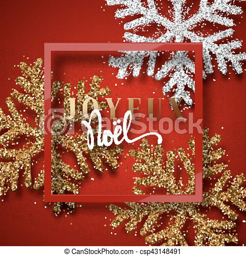 merry christmas french inscription joyeux noel christmas background red beautiful bright snowflakes realistic shine glitter framed calligraphy