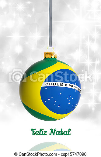 Merry Christmas from Brazil. Christmas ball with flag - csp15747090