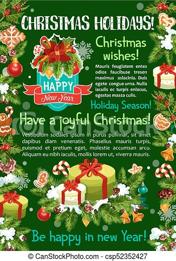 Merry Christmas Wishes Greeting Cards.Merry Christmas Gifts Vector Greeting Card