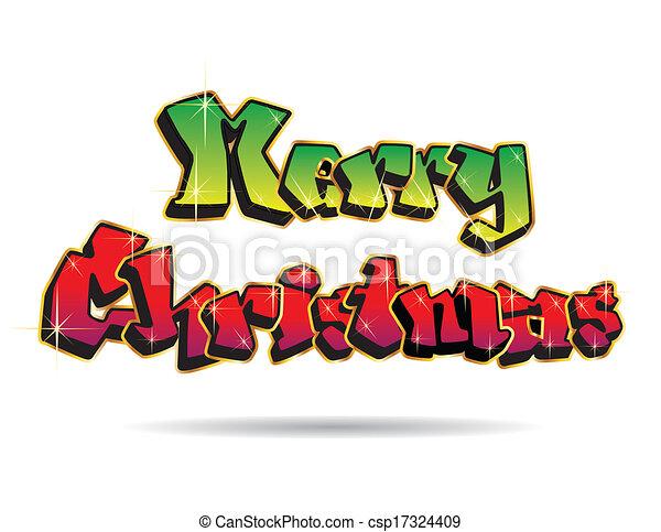 Christmas Graffiti Letters.Merry Christmas Graffiti