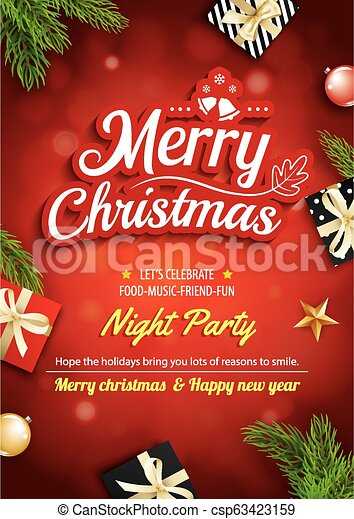 Merry Christmas Greeting Card And Party On Red Background Invitation Theme Concept Happy Holiday Design Template
