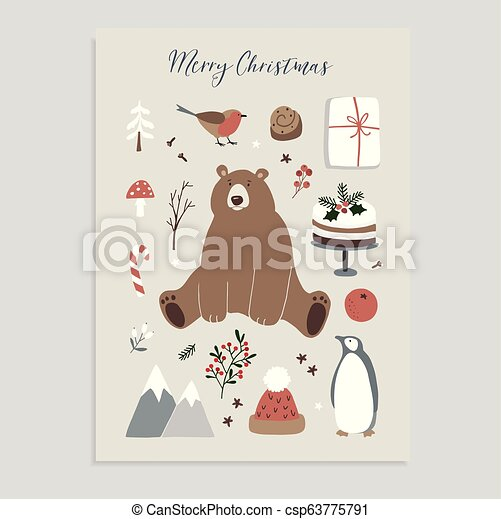 Merry Christmas Animals.Merry Christmas Greeting Card Invitation Set Of Cute Christmas Animals And Food Icons Bear Penguin Finch Knitted Hat Cake Holly Berries And
