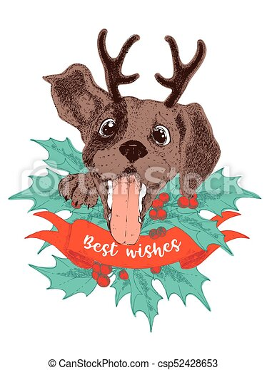 Christmas Beagle Clipart.Merry Christmas Greeting Card Happy Beagle Puppy With Antler Holly Brunches And Berries